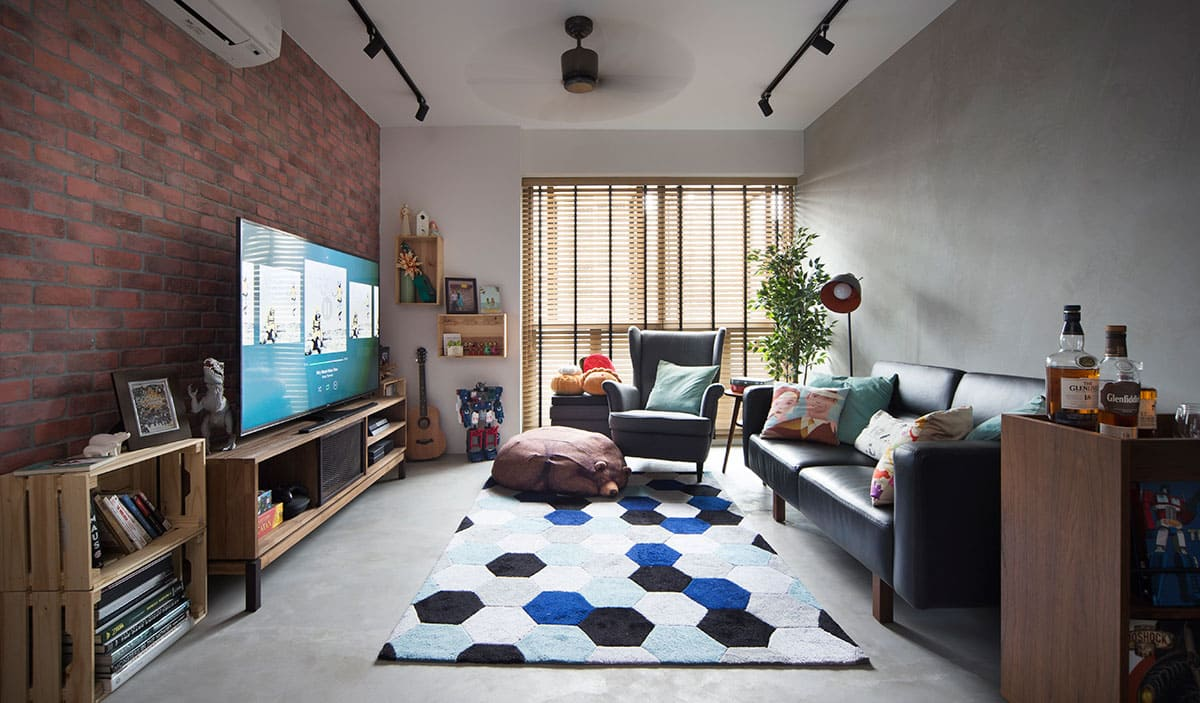 A 4 Room Hdb Home Gets The Industrial Chic Treatment Fuse Concept